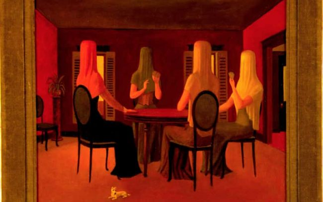 The Card Players, Oil on board, 17.625×19.875 inches, 1972