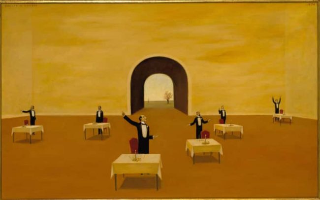 After Dinner Speaker, Oil on board, 20×31.75 inches, 1974