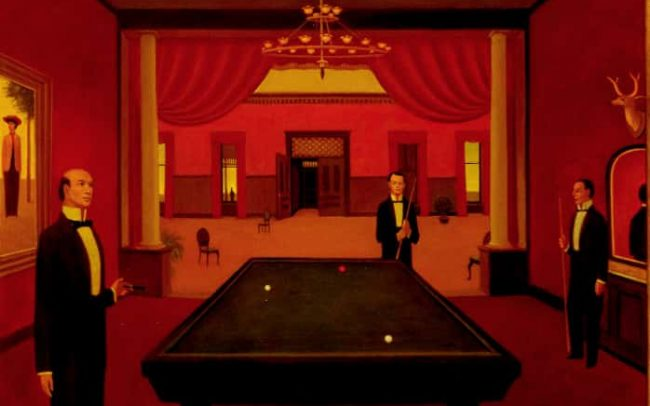 The Game I, Oil on board, 31.875×27.75 inches, 1976