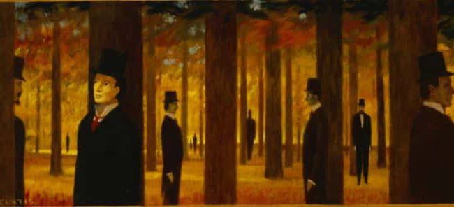 Walk Through Forest, Oil on board, 11.625×31.25 inches, 1988
