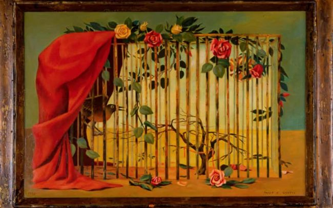 Birdcage, Oil on board, 20×28th inches, 1958