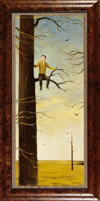 Boy in Tree, Oil on board, 29.625×11.75 inches, 1992