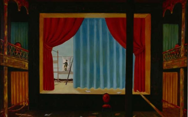 Theater with Landscape, Oil on board, 31×39 inches, 1958