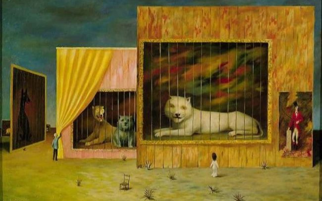 Wild Beast, also: The Circus, Oil on board, 21.25×32.75 inches, 1960