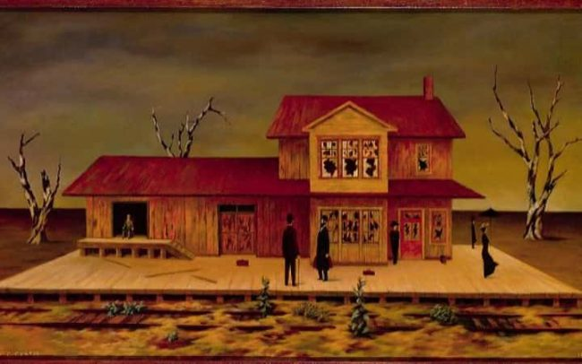 Wait at The Station, Oil on board, 20×35.875 inches, 1961