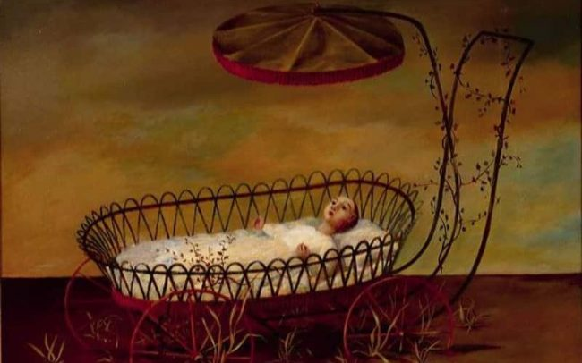 Deserted, also: Baby in Carriage, Oil on board, 24×30 inches, 1961